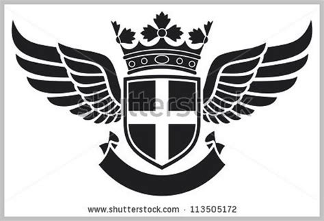coat of arms shield crown and wings tattoo design cross