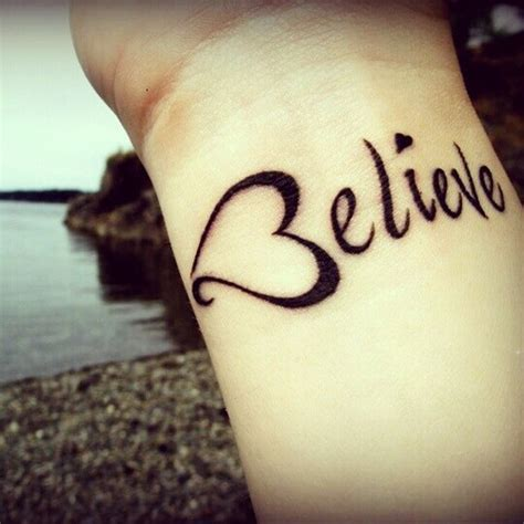 heart believe tattoo on wrist for girls tattooshunt com