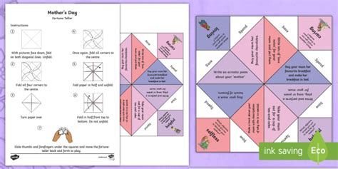mothers day cards templates ks2 ks2 s day fortune teller spag poetry celebration