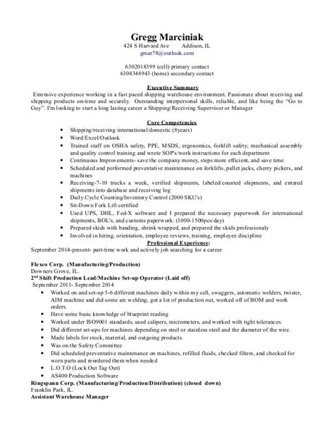 Receiving Manager Description shipping and receiving manager resume
