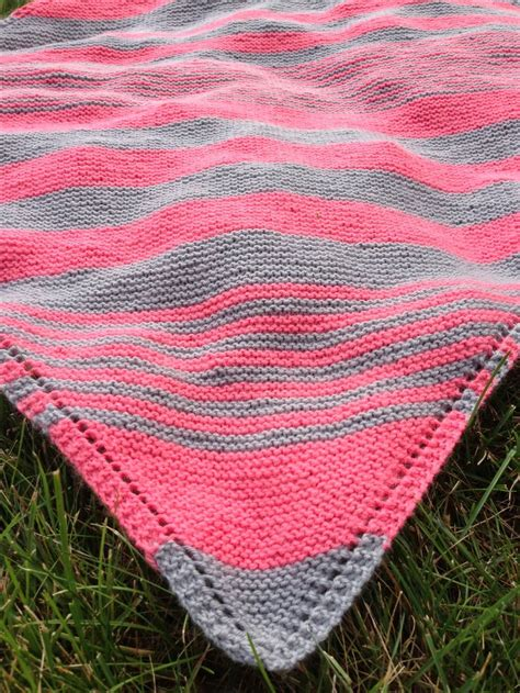 knitted baby comforter pattern pink grey diagonal stripe blanket great color
