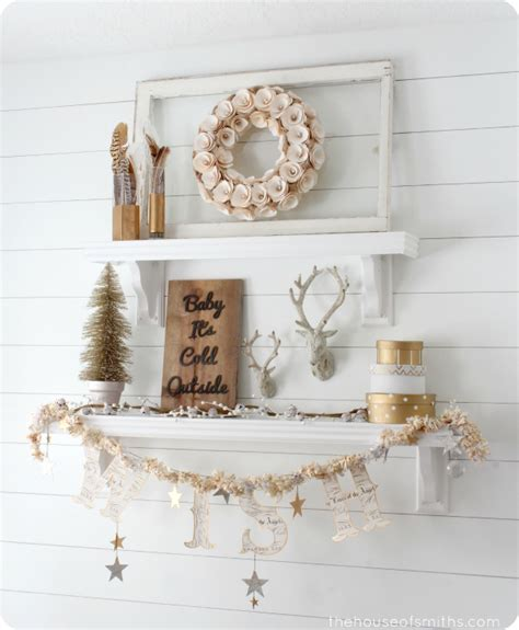 decorate shelves winter mantel and winter shelf decorating ideas