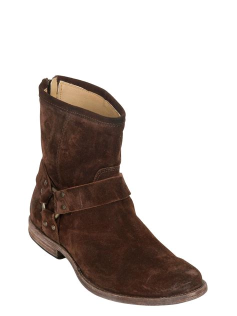 frye ankle boots frye 20mm harness suede ankle boots in brown lyst