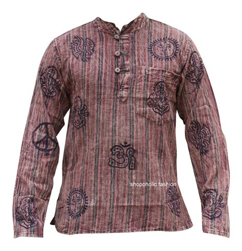 Hippie Patchwork Clothing - stonewashed grandad festival shirt with patchwork