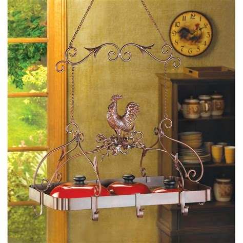 Rooster Pot Rack Wholesale Country Kitchen Wrought Iron Pot Rack Rooster