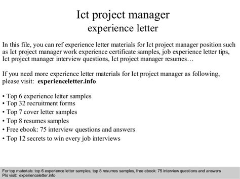 Ict Officer Cover Letter by Ict Project Manager Experience Letter