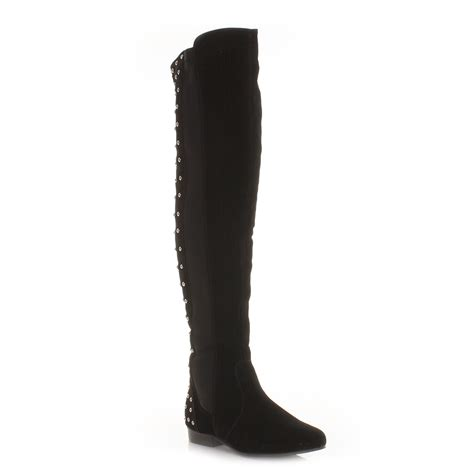 womens thigh knee high flat stretch studded