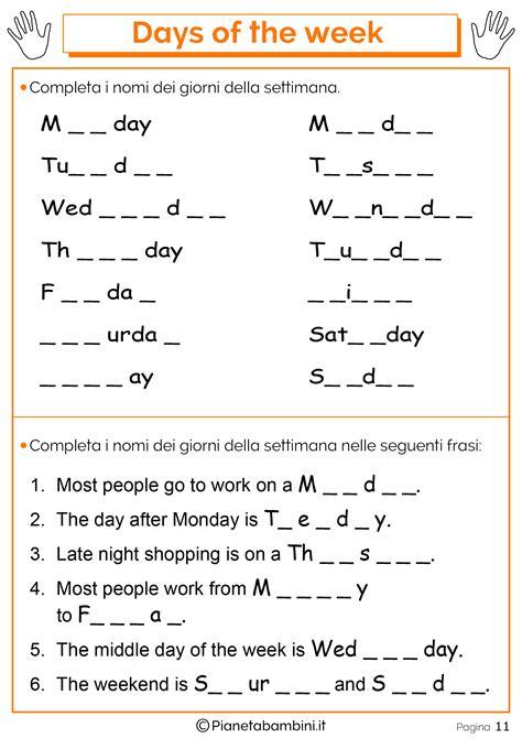 test d ingresso francese scuola media giorni della settimana in inglese per bambini schede