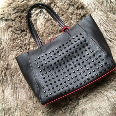 Mes Studded 3in1 handbags redblack studded 3in1 faux leather tote bag poshmark