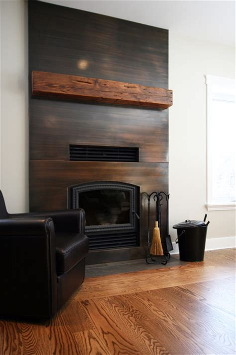 Clad Fireplace by Copper Clad Fireplace With Reclaimed Wood Mantel