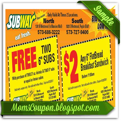 printable subway coupons march 2015 more ways to get coupons for subway free printable