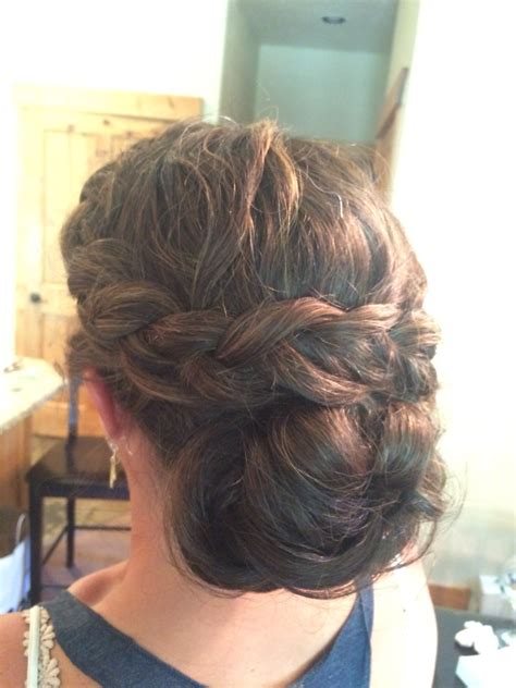 Wedding Hairstyles For Thick Hair thick hair side braid into low bun chignon wedding