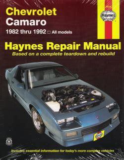 automotive repair manual 1993 chevrolet camaro head up display 1982 1992 chevrolet camaro haynes repair manual