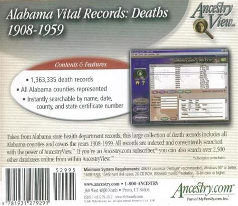 Divorce Records In Alabama Ancestry Alabama Vital Records Deaths 1908 1959 Pc Cd Ebay