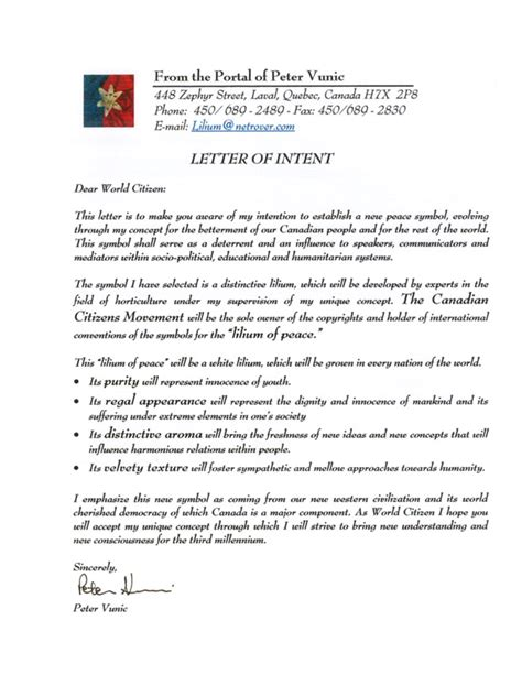 Letter Of Intent For Business Location Letter Of Intent 005