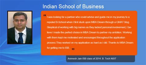 Usc Mba Application Fee by Review Of Isb Indian School Of Business