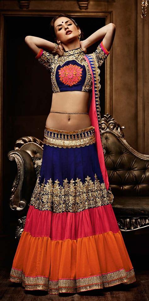multicolor latest georgette punjabi wedding ghagra choli