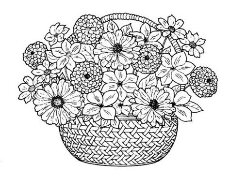coloring pages basket of flowers flower bouquet in a traditional basket coloring pages