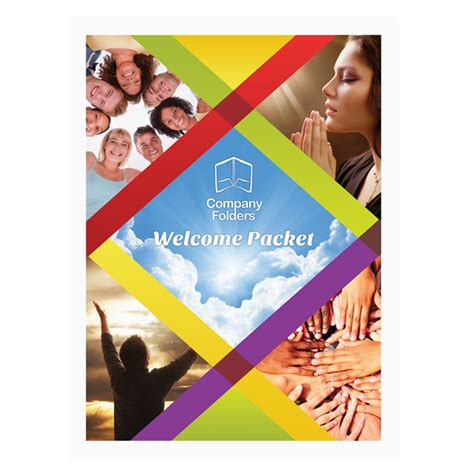 colorful church welcome packet folder template front view