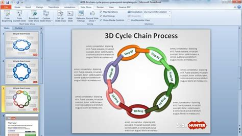 3d Cycle Chain Process Powerpoint Template Supply Chain Template Free
