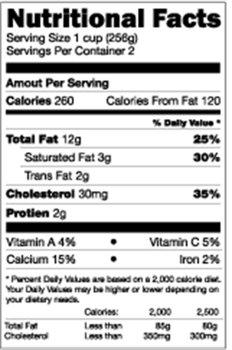 Nutrition Facts Template Doliquid Nutrition Facts Template