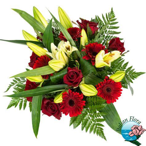fiori gigli bouquet gigli gialli con gerbere e rosse