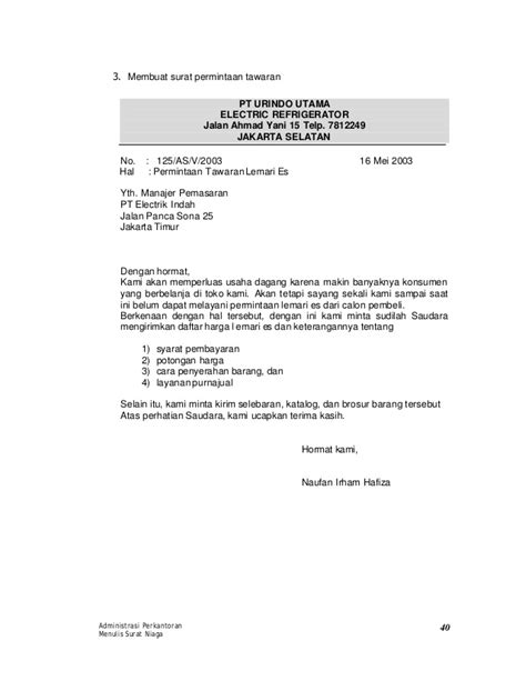 Contoh Surat Niaga Permintaan Barang by Contoh Surat Permintaan Barang Alat Tulis Kantor 25 D