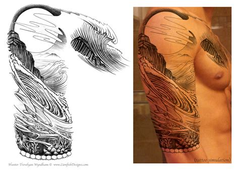 handmade tattoo custom design lionfish designs