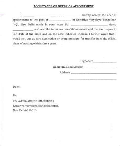 Acceptance Letter For New Appointment offer acceptance letter sle 9 exles in word pdf