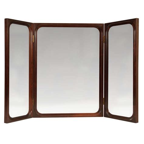mid century modern wall mirror mid century modern rosewood trifold wall or vanity