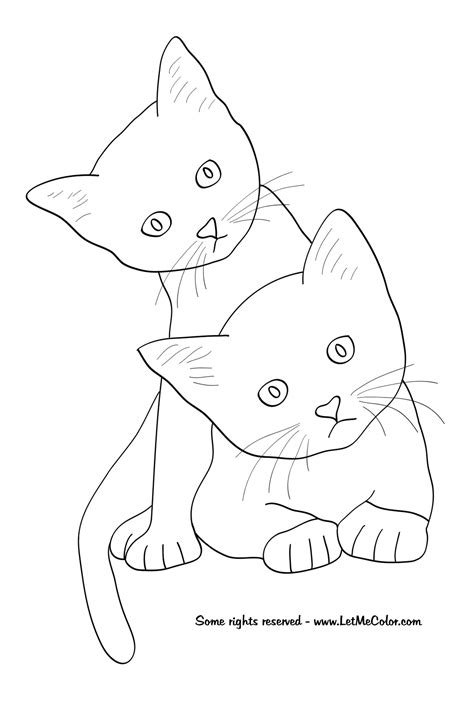 two cats coloring page animals letmecolor