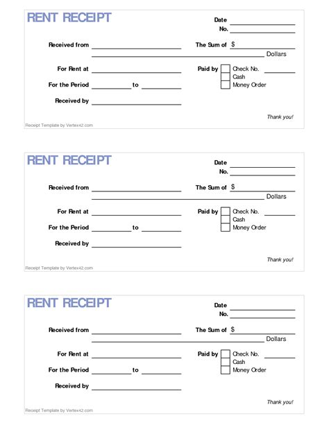 printable rent receipt free 6 best images of printable rent receipt template free