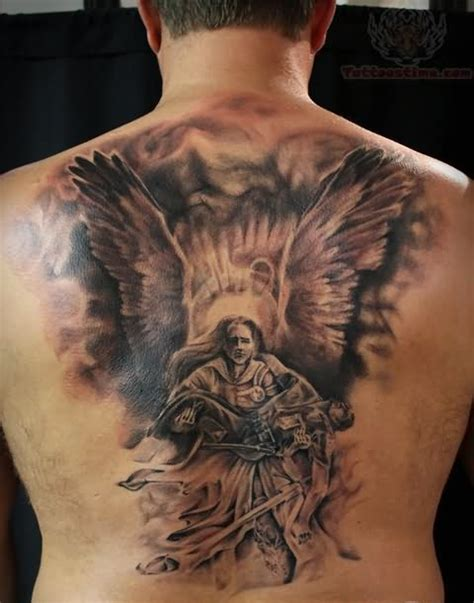 angel warrior tattoo and warrior on back