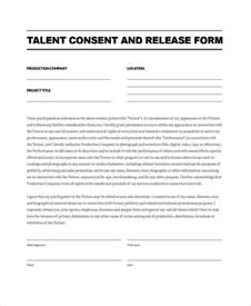 talent release form template sle talent release form template 9 free documents