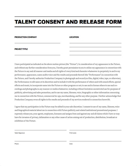 release form template sle talent release form template 9 free documents