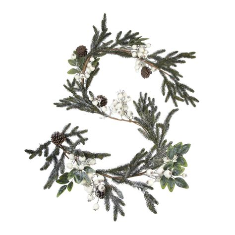 white snow berry christmas wreath or garland by the