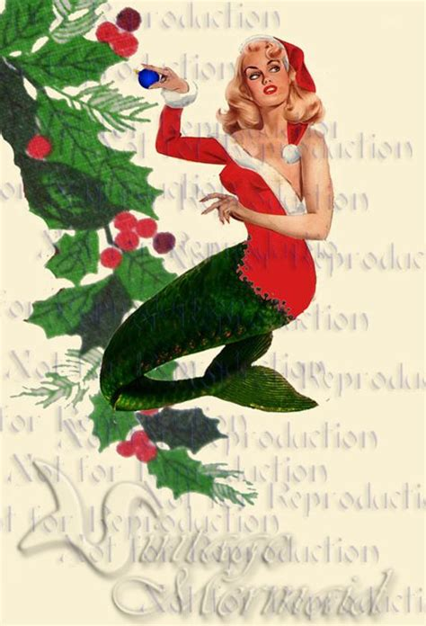 items similar  cm retro merry christmas mermaid fabric block vintage pinup mermaid christmas
