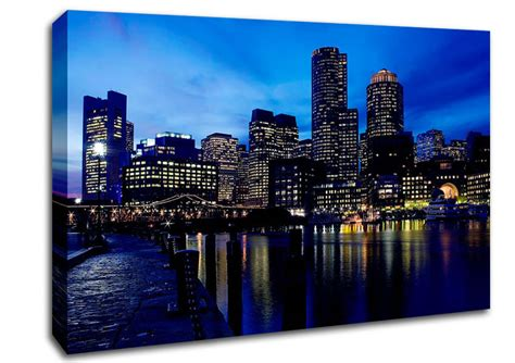 City Glow city glow blues architecture canvas stretched canvas