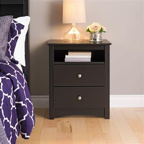 2 drawer nightstand with open shelf prepac black sonoma tall 2 drawer nightstand with open