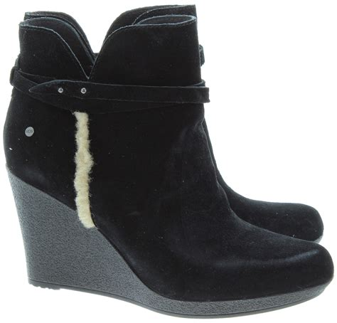 ugg alexandra wedge ankle boots in black