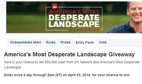 Diy Sweepstakes - diy network america s most desperate landscape giveaway sweeps maniac