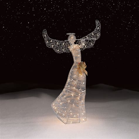 lighted angel outdoor christmas decorations roebuck co silver angel outdoor christmas decor