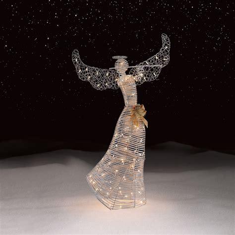lighted christmas angel yard decor roebuck co silver angel outdoor christmas decor