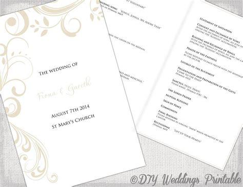 catholic wedding program template champagne scroll diy