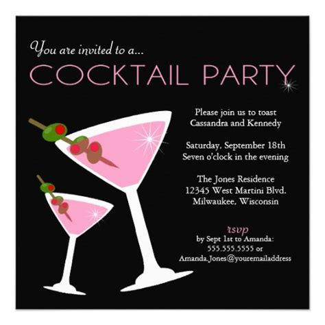cocktail party invitation pink cocktail party invitation