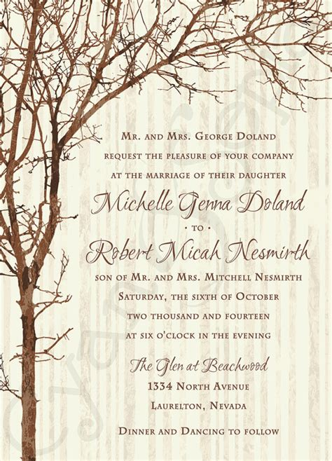 printable wedding invitations tree printable wedding invitation 5x7 tree and by cyanandsepia