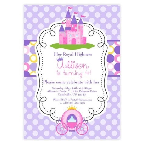 princess invitations printable princess invitation purple and pink polka dots royal