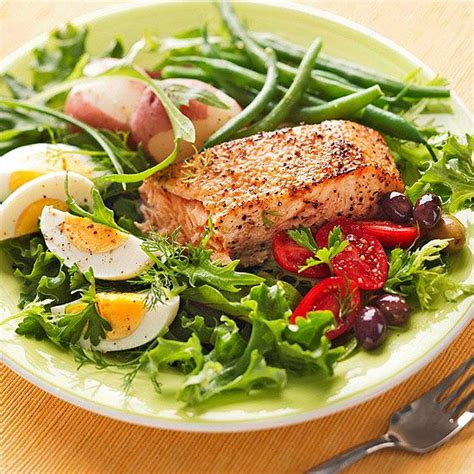 dinner salad recipes grilled salmon salad nicoise recipe cherry tomatoes