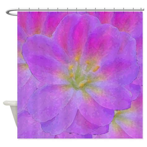 Purple Flower Shower Curtain by Purple Flower Shower Curtain By Ab1634