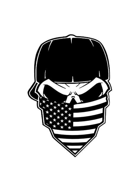 Aufkleber Totenkopf Schwarz by American Flag Bandana Skull Vinyl Decal Sticker Art Design